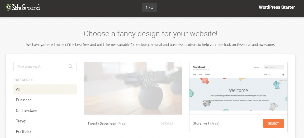 This is the first step in using SiteGround's WordPress starter tool.