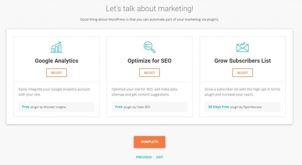 This is a screenshot of the marketing plugins you can install for your website.