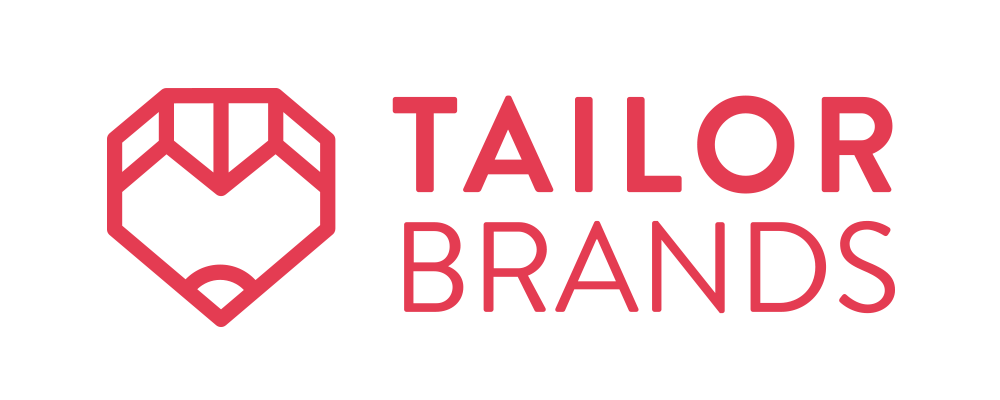 This is Tailor Brands' red logo.  It includes an abstract gem-like shape.